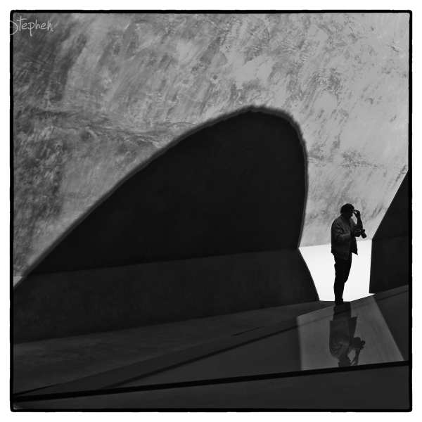 """Silhouetted figure at """"Within without"""" Skyspace"""