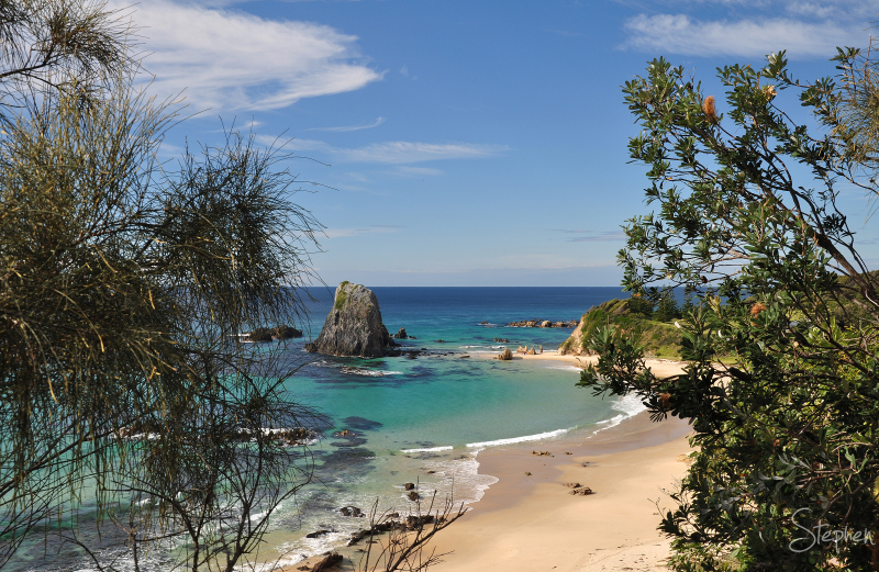 View of the Glasshouse Rocks at Narooma