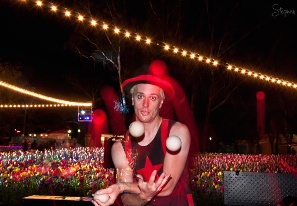 Cirquaholics juggling with LED light at NightFest