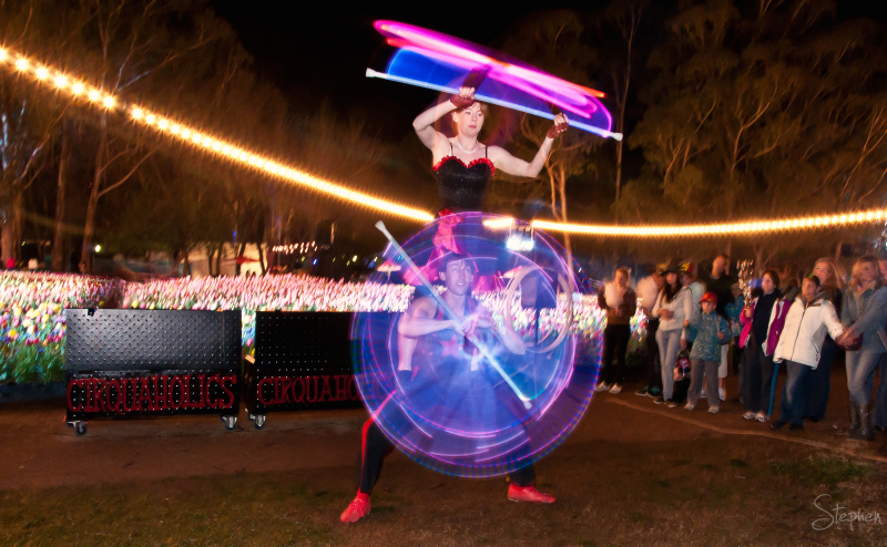 Cirquaholics juggling with LED light at NightFest
