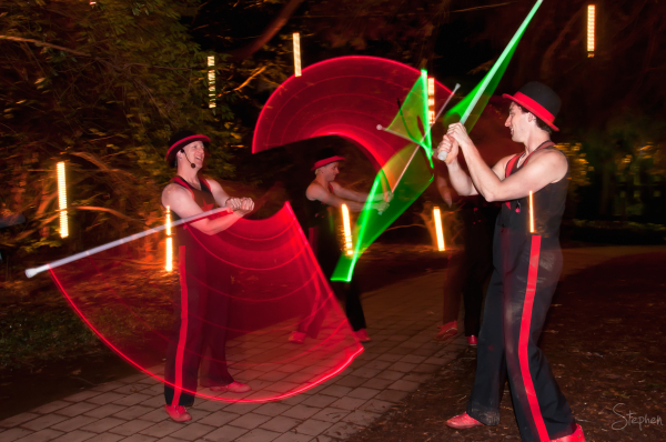 Cirquaholics with LED light sabers at NightFest