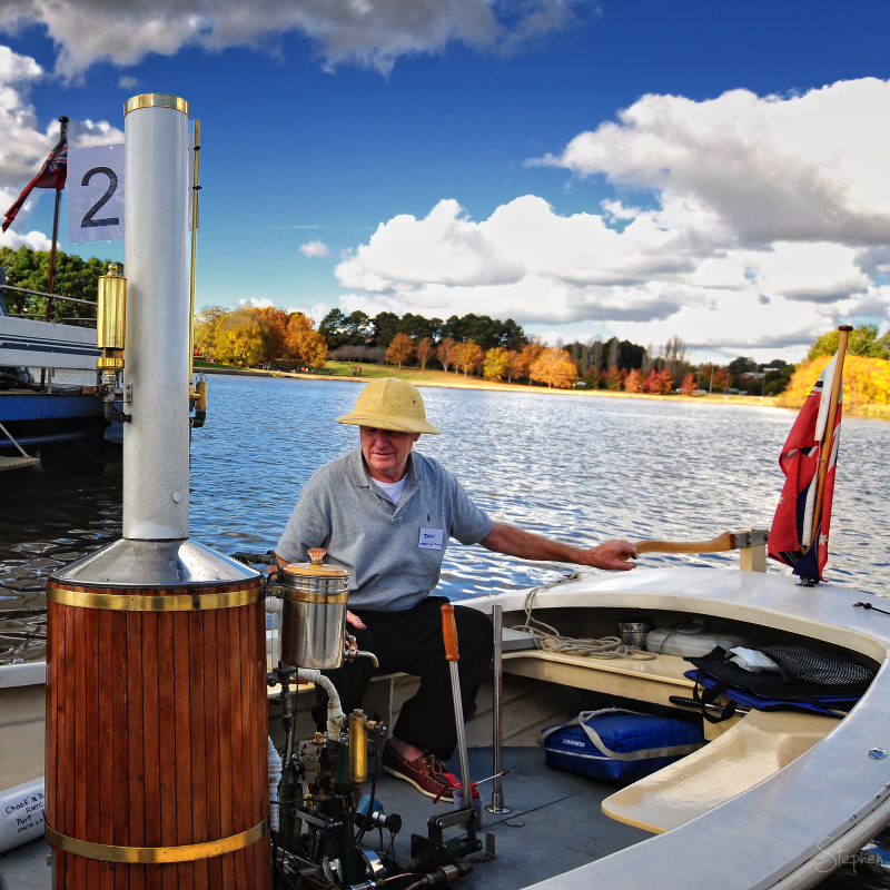 Steam powered vintage boat on Lake Burley Griffin