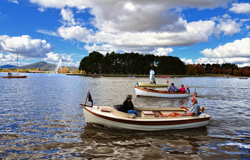 Vintage boat sail past on Lake Burley Griffin