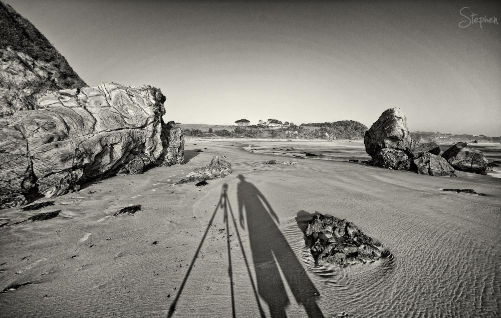 Long early morning shadows at Glasshouse Rocks
