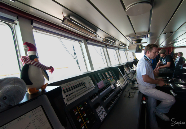 On the bridge with Captain on cruise ship Orion
