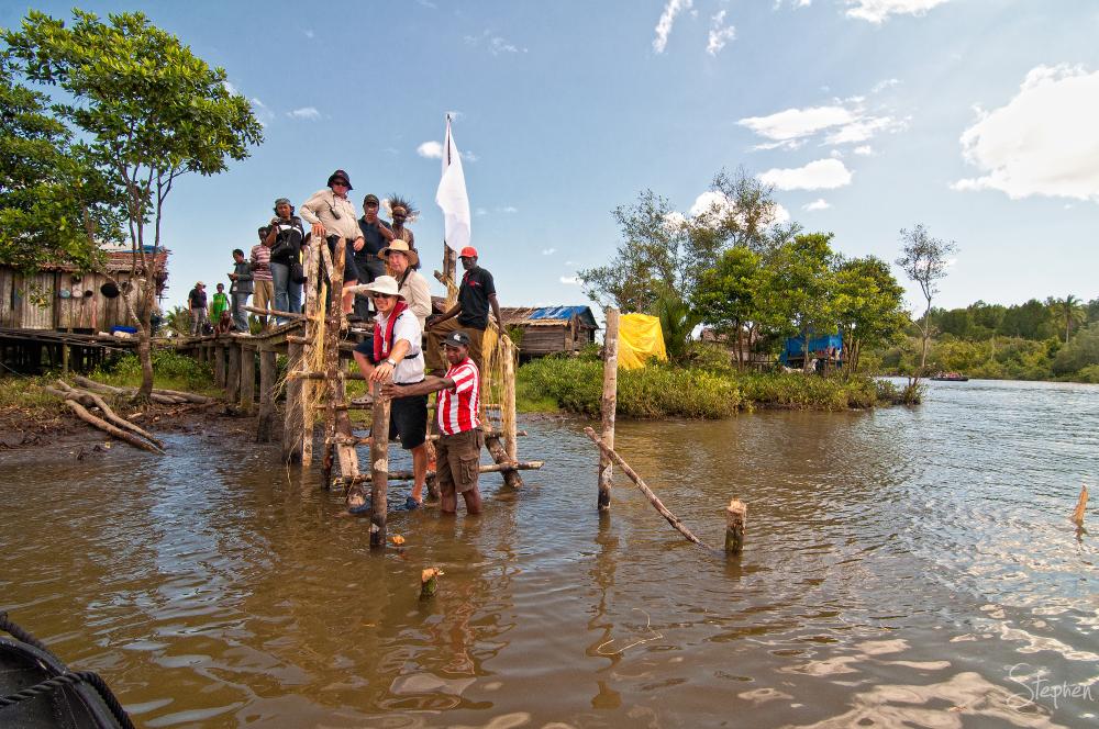 Arriving on jetty at Syuru Village in the Asmat