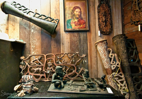 Asmat wood carvings at Alex's shop in Agats