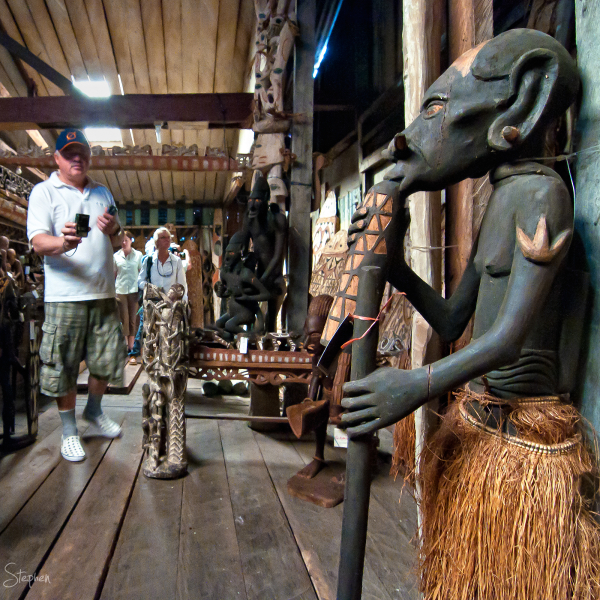 Asmat art and wood carving at Alex's shop in Agats