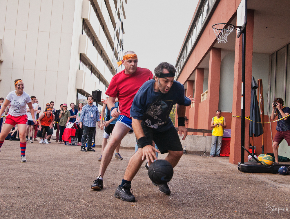 Bands play basketball at the You Are Here festival