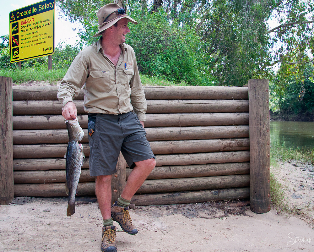 Tour guide with Barramundi on East Alligator River