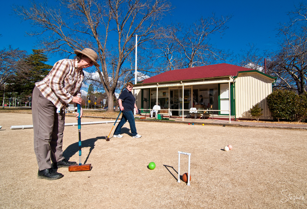 On the lawns at the Canberra Croquet Club
