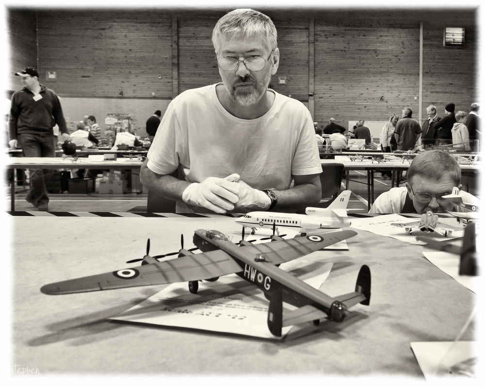 Judges at ACT Scale Modellers' Society exhibition