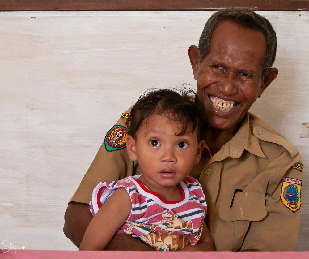 Policeman and child at Matakus isle Yamdena Island