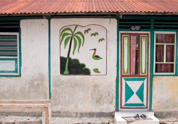 Mural on house in Matakus near Yamdena Island