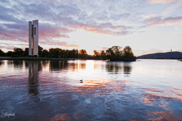 Sunset over the Carillon in Canberra