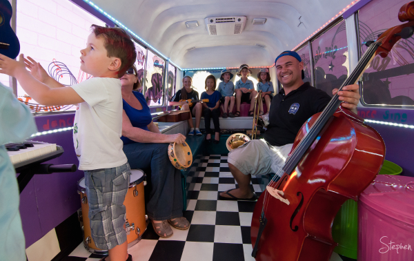Anthony inside his Back Seat Beats music bus