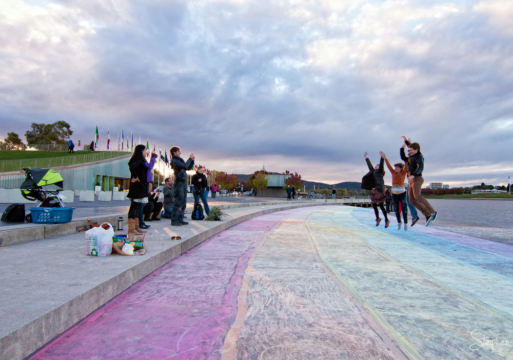 Rainbow crossing on shore of Lake Burley Griffin