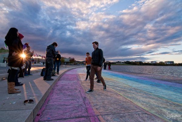 DIY rainbow crossing on Lake Burley Griffin shore