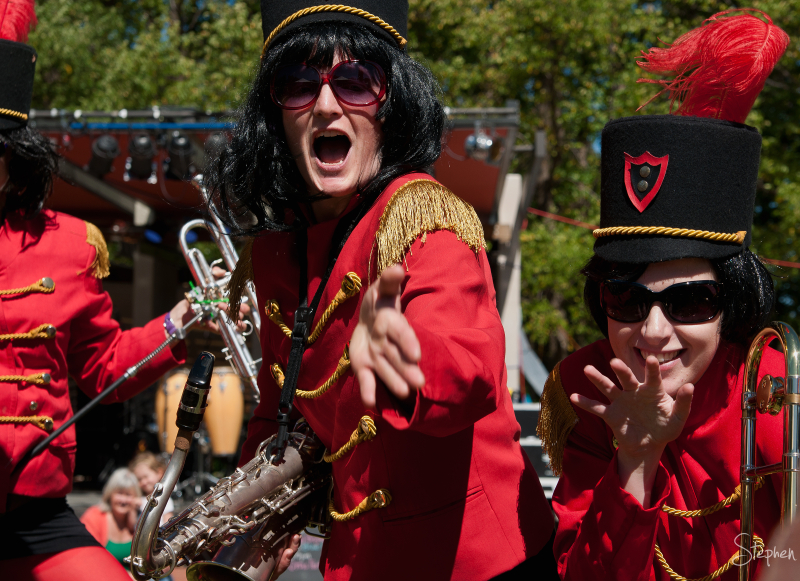 Red Brigade brass band in Glebe Park