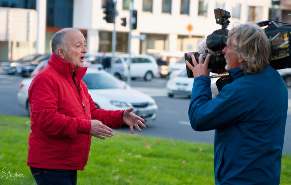 Tony Robinson on location in Canberra