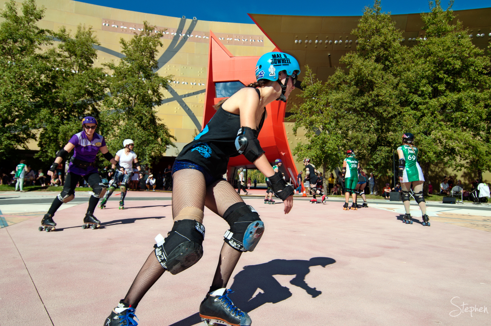 Roller skating at the National Museum of Australia