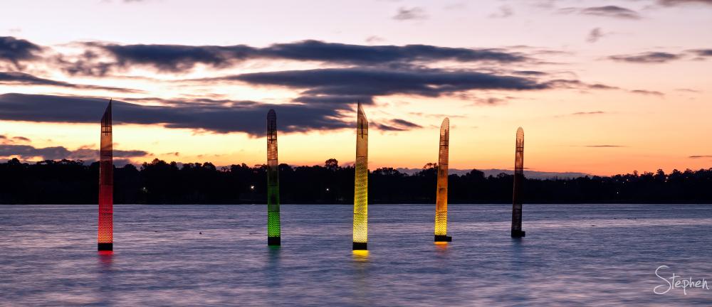 Running Lights public art at Lake Ginninderra