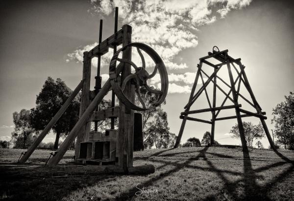 Old gold mining machinery at Gulgong