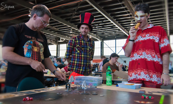 Costumes on show at table at Cancon gaming meet up