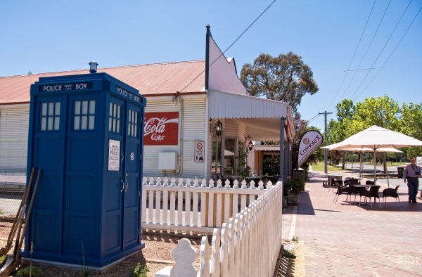 The TARDIS lands in the village of Hall