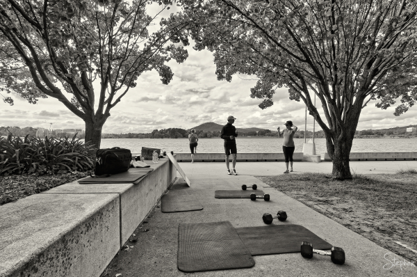 Boot camp fitness on shores of Lake Burley Griffin