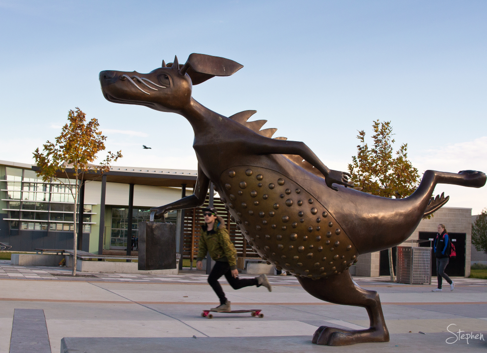 Alexander the Bunyip sculpture in Gungahlin