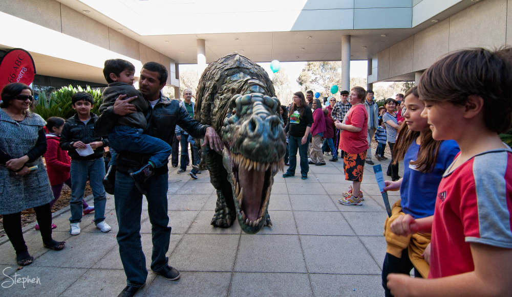 Dinosaur on the loose at Geoscience Open Day
