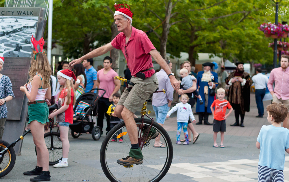Unicycle at Christmas in the City