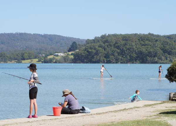 Fishing and paddleboarding at Narooma