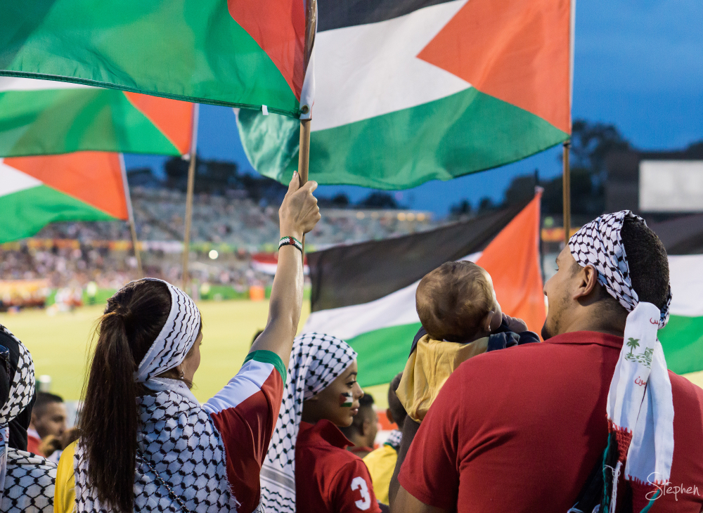 Palestine supporters at Asian Cup in Canberra