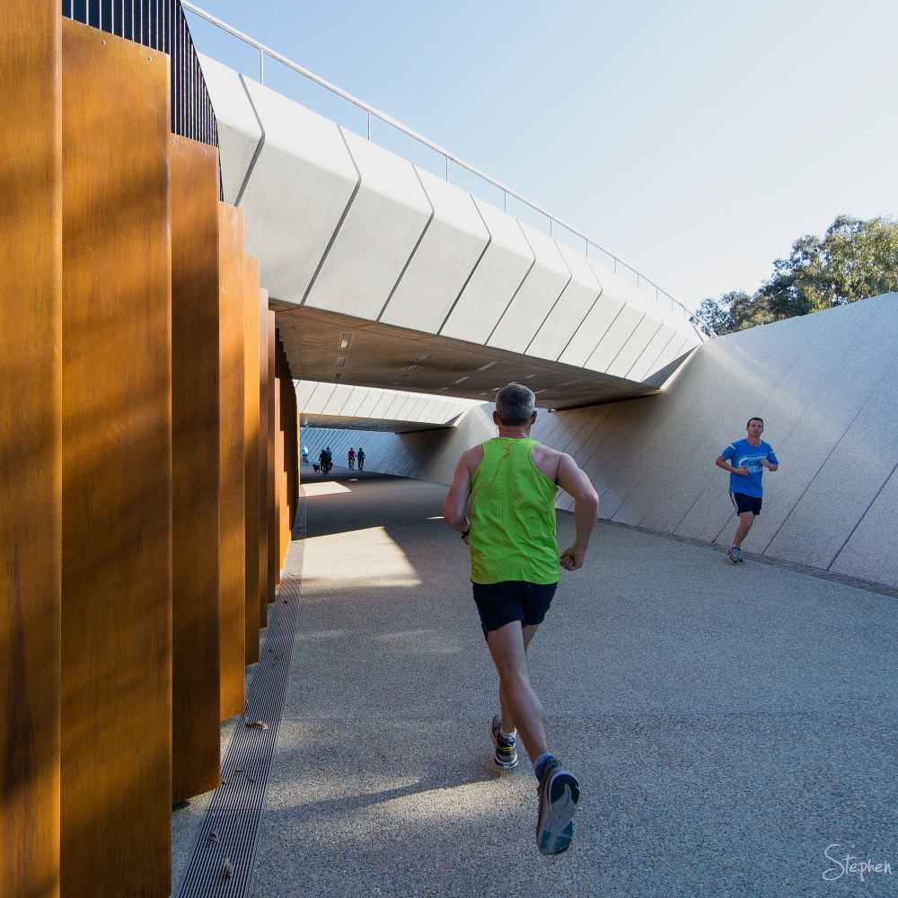Jogging through new Bowen Place underpass