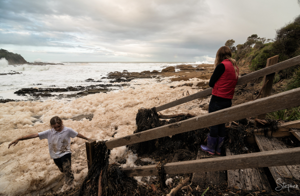 Sea foam after storms at Dalmeny near Narooma