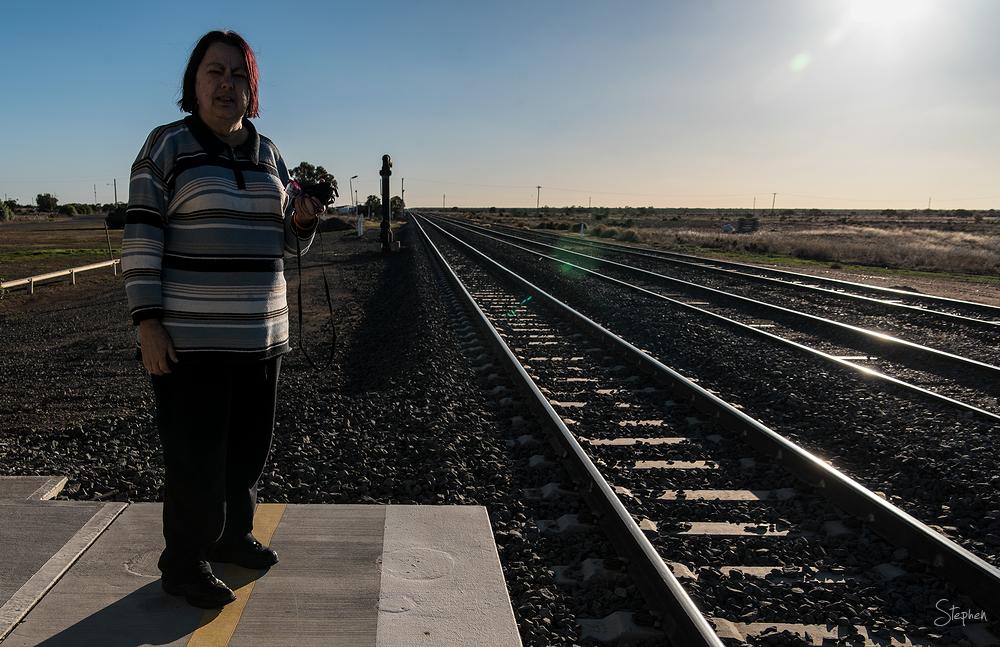 Rail platform at Ivanhoe on line to Broken Hill