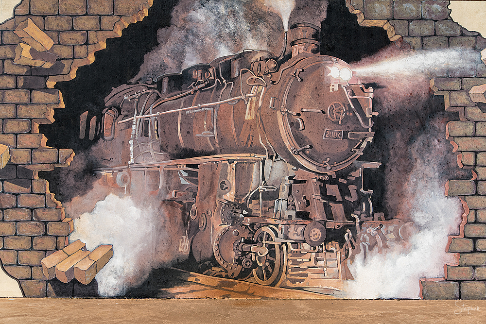 Train mural at Broken Hill Railway Station