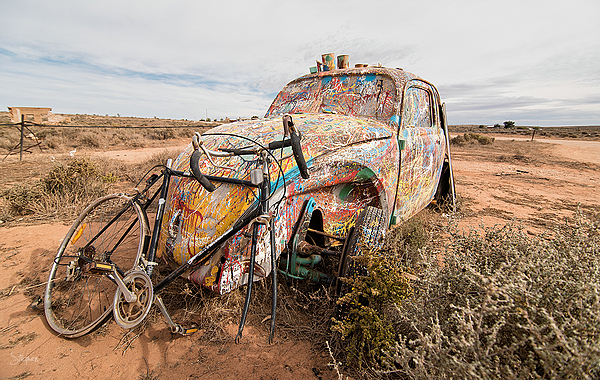 Painted VW car wreck at Silverton
