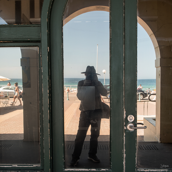 Self portrait reflection at Bondi Pavilion