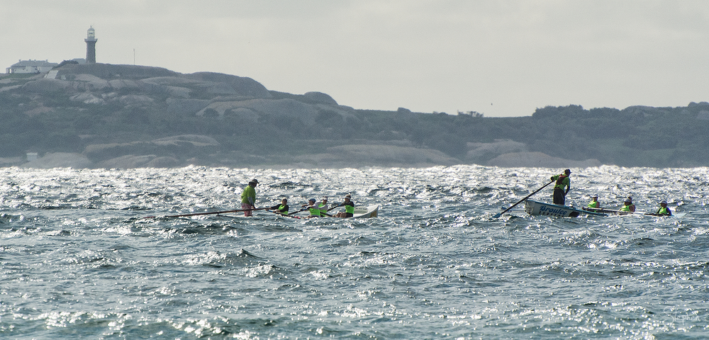 Surfboat marathon stage off Narooma beach