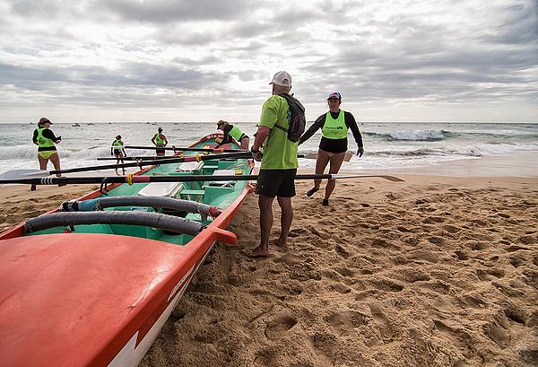 Surfboat marathon stage at Narooma beach