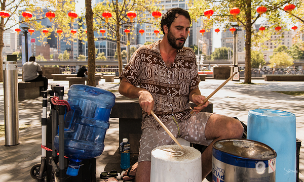 Busking with percussion on Southbank