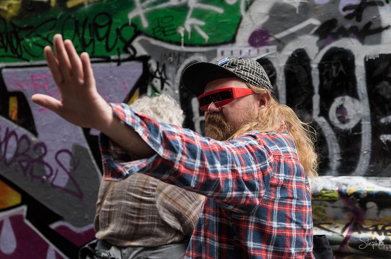 Street artist in Melbourne laneway