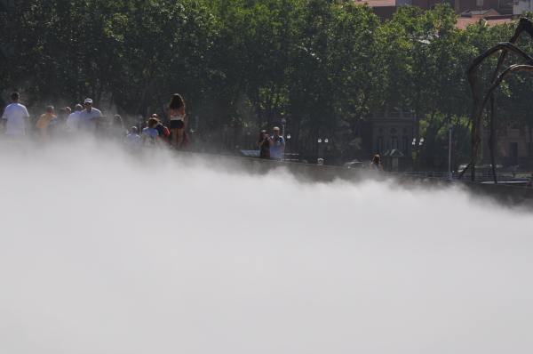 Tourists in the mist.