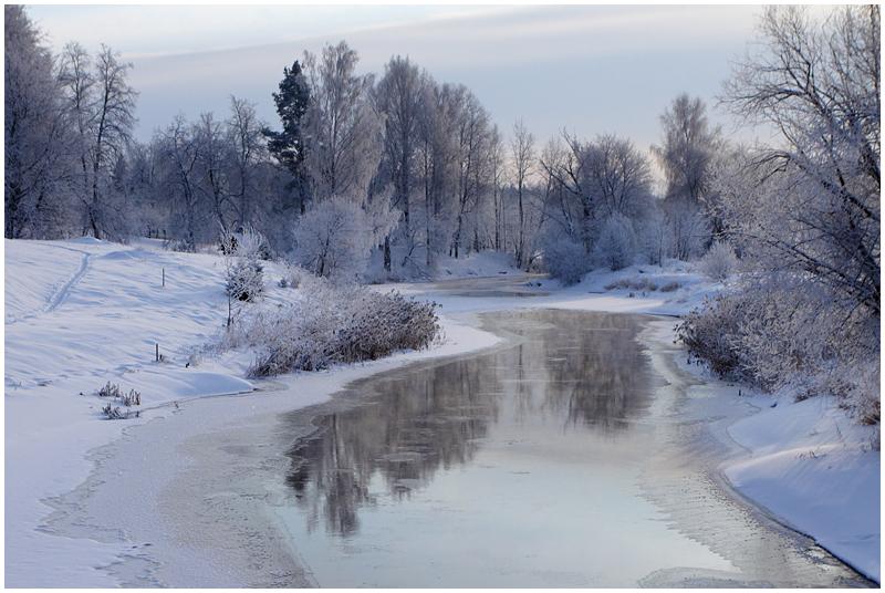 Winter river in estonia