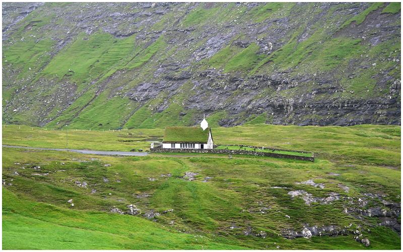 Saksun church on Faroese island of Streymoy