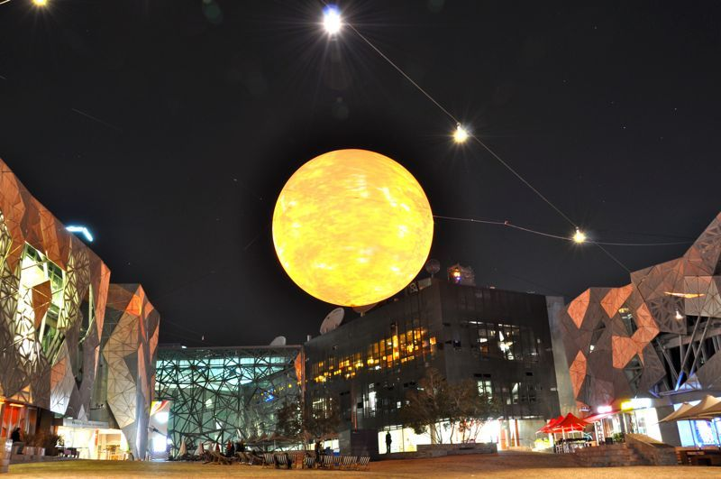 Sun over Federation Square