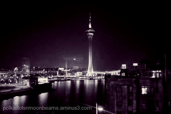 macau city tower night